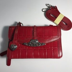 Red Heart Clutch / Wallet with Strap